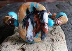 Cowgirl western bracelet handpainted pinto paint horse art beaded cuff jewelry #BelleRayne