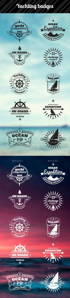 Yachting Badges #vector #eps #boat #vector • Available here → https://graphicriver.net/item/yachting-badges/11827538?ref=pxcr