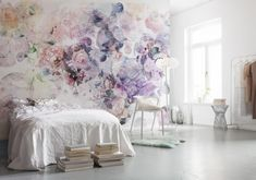 This abstract floral wall mural has a unique geometric design. The bubbles of color and print are filled with roses, cityscapes, mountains, and greenery. Wish Wall Mural comes on 4 panels. Bedroom Decor, Wall Decor, Wall Art, Wall Murals Bedroom, Pink And Purple Flowers, Big Flowers, Flower Wallpaper, Wallpaper For Home, Beautiful Wallpaper