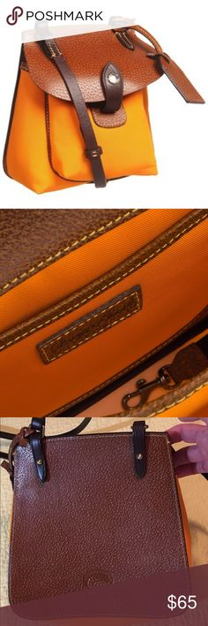 Doomey & Bourke Crossbody Such a great bag! Stylish classic & casual. Bright orange nylon & gorgeous leather. Adjustable leather buckle strap, gold hardware, key holder. Beauty!!! Used for 1 week. EUC. Dooney & Bourke Bags Crossbody Bags