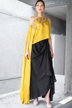 Mustard Embroidered Cape and Drape Skirt Set For Women / Indian Dress / Party Wear / Wedding Dress / Drape Dress / Designer Wear / Trending Indian Designer Outfits, Designer Dresses, Indian Dresses, Indian Outfits, Stylish Dresses, Fashion Dresses, Black Lehenga, Draped Skirt, Cape Dress