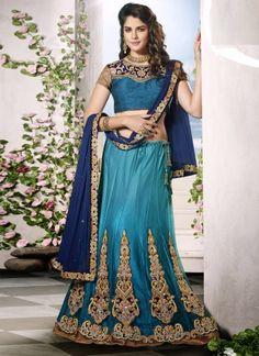 Awesome Teal With Blue Designer Wedding Lehenga Choli http://www.angelnx.com/bestseller