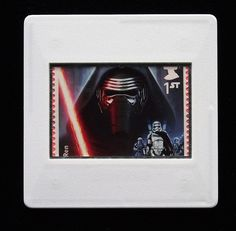 The Royal Mail released a set of special stamps featuring some of the characters, favourite droids, aliens and creatures of the Star Wars films. This 1st class stamp design shows Kylo Ren. Kylo Ren is the chosen name of Ben Solo, the only son of Han Solo and Leia Organa. He trained as a Jedi but has moved over to the dark side of the Force like his grandfather Darth Vader. The character is played by Adam Driver in the movies.  An eye-catching piece, ideal to wear at any Comic Con. True Colors, Colours, Presentation Cards, Star Wars Kylo Ren, Star Wars Film, Han Solo, Adam Driver, Royal Mail, Films