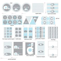 Elephant Blue and Gray Baby Shower Printable DIY (Do It Yourself) Party Package designed by Stockberry Studio    $12.00 + $10.00 personalization
