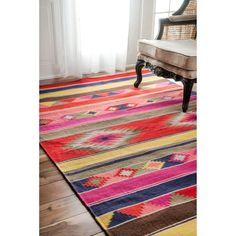 nuLOOM Handmade Flatweave Wool Tribal Multi Rug (5' x 8') (Multi), Green, Size 5' x 8'