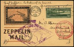 United States South America Flight 1930, american post, return flight, faultless card with 65 C. Zeppelin, German and american special confirmation stamp, till Friedrichshafen.  Dealer Gert Müller Auctions  Auction Minimum Bid: 150.00 EUR