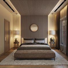 Wood Bedroom, Master Bedroom Design, Modern Bedroom, Bedroom Decor, Ceiling Design For Bedroom, Ceiling Wood Design, Wood Panel Walls, Wooden Walls, Wood Ceiling Panels