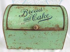 Antique Tin Bread & Cake Rustic Box by VintagePolkaDotcom on Etsy