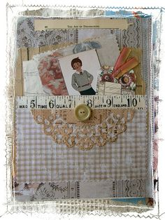 Over the Rainebeau: White Wednesday and Altered Journal page with pocket and paper doily. by eileen Love Vintage, Vintage Paper, Vintage Cards, Journal Covers, Art Journal Pages, Journal Ideas, Junk Journal, House Journal, Textiles