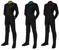 Concept for two star trek uniforms. The Pilot uniform is intended to be used by pilots flying my Firebat Interceptor: [link] I got the inspiration to ma. Star Trek Games, Star Trek Rpg, New Star Trek, Star Trek Ships, Star Wars, Star Trek Tattoo, Spy Outfit, Corporate Shirts, Cyberpunk