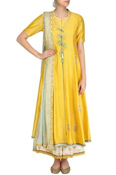 Yellow embroidered kurta and off white brocade sharara pants set available only at Pernias Pop Up Shop. #AnjuModi#ethnic#shopnow #ppus #happyshopping