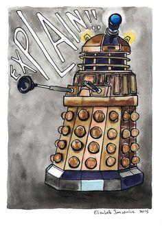 Dalek Watercolor Original Art by ElizabethJJancewicz on Etsy