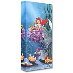 The Little Mermaid ''He Loves Me'' Giclée by Michelle St.Laurent | Disney Store Ariel plucks petals from the plant to find out the true feelings of Prince Eric in this romantic work by Michelle St.Laurent. The limited edition giclée ''He Loves Me'' comes gallery wrapped on canvas and ready to hang in your home.