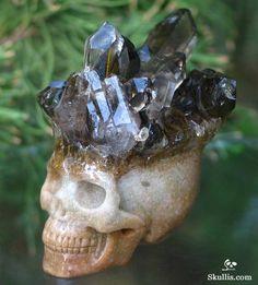 Smokey/Smoky Quartz Rock Druse Crystal Skull