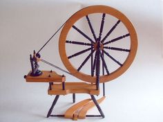 Miniature Spinning Wheel in Yew and Ebony by Ron Castle. Colored and ...