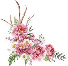 Vector Flowers, Botanical Flowers, Flowers Nature, Beautiful Flowers, Flower Frame, Flower Art, Watercolor Flowers, Watercolor Art, Rose Flower Wallpaper
