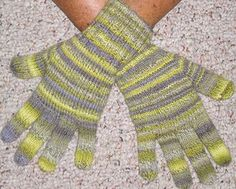 gloves-knitted in the round with sock yarn.  get cracking, girl, its that time of year!