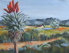 Karoo landscape by k bester Watercolor Landscape Paintings, Landscape Art, Flower Painting Canvas, Painting Trees, African Paintings, South African Artists, Creative Inspiration, New Art, Countryside
