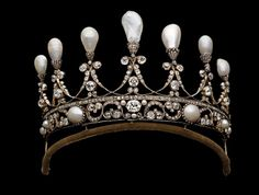 A Royal Hanover diamond spike tiara with upright pearls. | Marie Poutine's Jewels & Royals