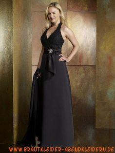 Neckholder Satin Schwarzes elegantes Abendkleid