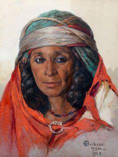 Emile DECKERS (1885-1968) - Portrait d'algérienne