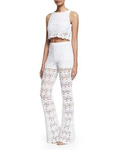 3af132bb9e8 Rosi+Floral-Lace+Crop+Top+&+Kai+Crocheted+Lace+Pants+by+Miguelina+at+Neiman+ Marcus.