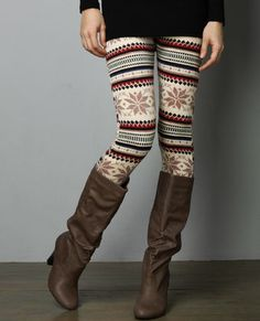 Winter leggings- have the boots! just need the leggins Winter Leggings, Sweaters And Leggings, Christmas Leggings, Fall Tights, Funky Tights, Funky Leggings, Black Leggings, Colorful Leggings, Looks Style