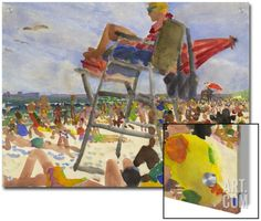 Watercolor Painting of a Beach Scene with Lifeguard Art on Acrylic by Steve Singer at Art.com