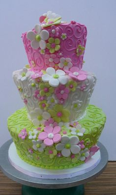 Pink and green tiered floral birthday cake