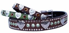 1/2 Heart and Crystal Small Sizes 3/8 & 1/2 by WoofwearCollars