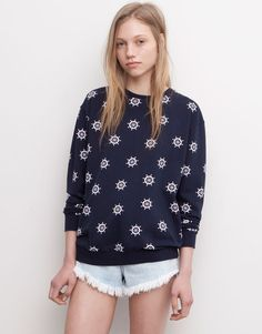 Pull&Bear - woman - sweatshirts - sweatshirt with all-over ship's helm print - navy - 05593306-V2015