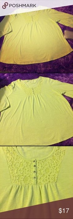 4X- 3/4 sleeve spring green top Like new!!! This shirt is a light green that's perfect for spring, lace/buttons at chest and a button on each sleeve Tops