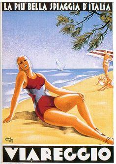 Vintage Italian Posters ~ #illustrator #Italian #vintage #posters ~ By Albert Bonetti, c. 1932: La più bella spiaggia d'Italia.