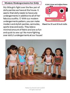 (9) Name: 'Sewing : Modern Undergarments- 15/18 inch dolls