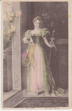 Unknown German Publisher Postcard - Woman in Court Dress Postcard from Germany Court Dresses, Statue, Artist, Painting, Postcards, Vintage, Germany, Woman, Lady