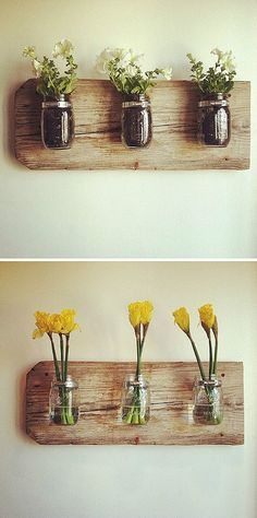 Mason jar wall vase... can be used in the bathroom, the kitchen, wherever!