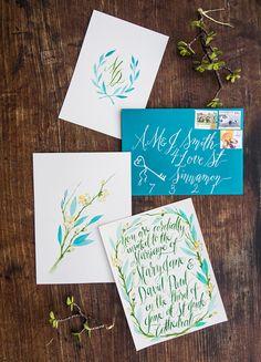 Watercolour Wedding Invitations From Coco Bride
