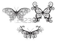 Des illustrations de papillons stylisés abstrait avec des motifs et des tourbillons formant les ailes