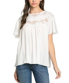 Look at this Mittoshop Ivory Lace-Yoke Swing Top on #zulily today!