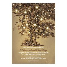 Old Tree Lights Wedding Thank You Cards Created By Jinaiji