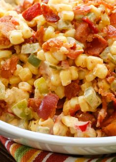 Creamed Corn with Peppers and Bacon | get the recipe at ...