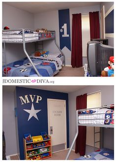 Magical All-Star Sports Themed Kids Bedroom with Disney Paint #wmtmoms