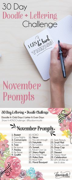 30 Day Doodle + Lettering Challenge - this is so cool! Posted by Dawn Nicole Doodle Lettering, Creative Lettering, Brush Lettering, Doodle Fonts, Drawing Challenge, Art Challenge, November Challenge, 30 Day Challenge Journal, Zentangle