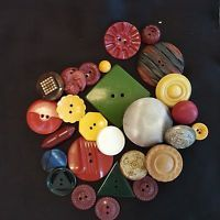 vintage antique buttons mixed lot 27 glass, bakelite, metal, early plastic