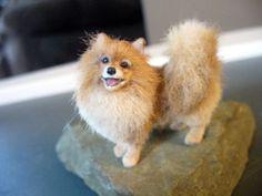 Dollhouse-Miniature-Pomeranian-Dog-Handsculpted