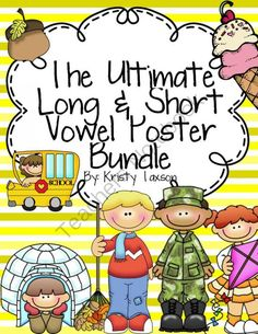 The Ultimate Long & Short Vowel Poster Bundle from Kindergarten Kristy on TeachersNotebook.com -  - Included in this packet are all the long and short vowel posters I created. If you bought each set individually, it would cost you $24, but his bundle is only $10! You can switch your theme each school year while still owning all the other sets. I would s