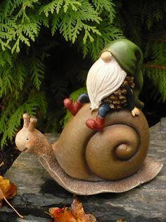 Garden Gnome Riding on a Snail Figurine.Acorn Gnome ...