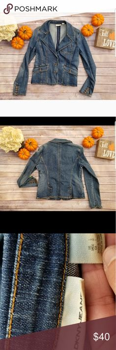 🎉DKNY Denim Jacket🎉 Look stylish this season in this denim jacket by DKNY! BEAUTIFUL color and button detail on sleeves. Like new. Size Large. No tears or stains.  Two buttons on the front. I love that you can dress this up or down! 💋 Dkny Jackets & Coats