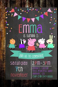 Peppa Pig Birthday Invite Peppa Pig Chalkboard by DigitalDesigns3
