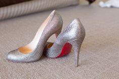 My Christian Louboutin wedding shoes! Gold glitter... love them...